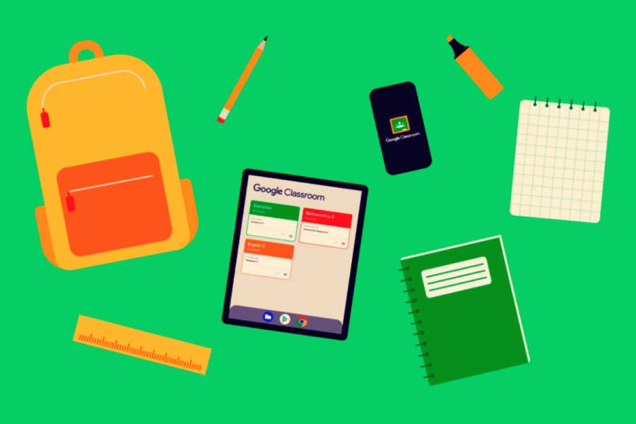 a tablet and smartphone with google classroom logo